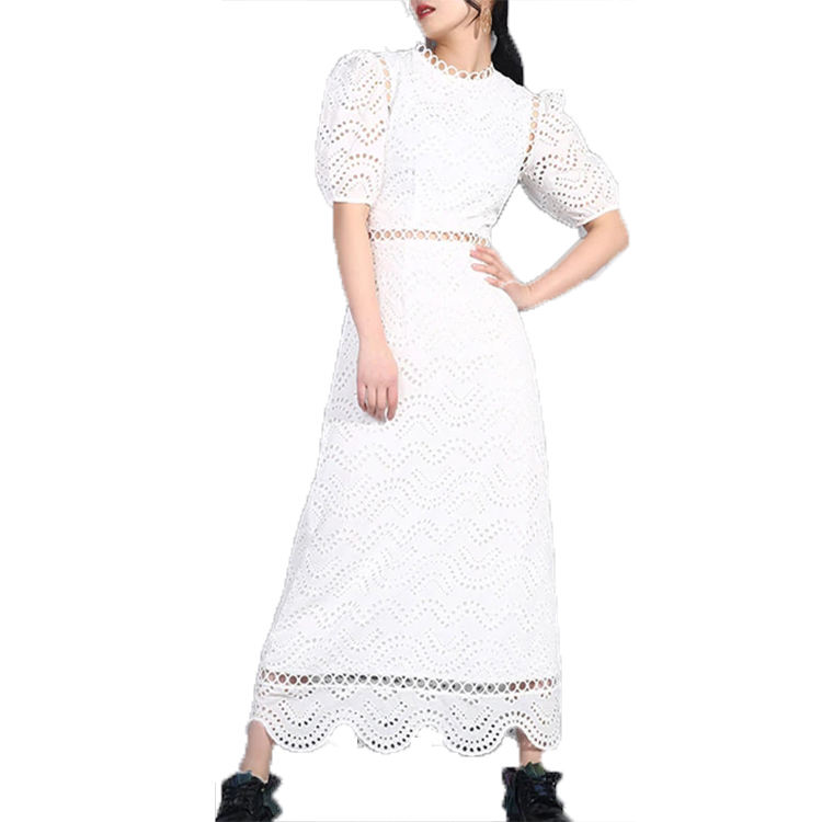 2019 Spring Summer O-Neck Half Sleeve Tide Embroidery Hollow Out Lace Split Joint Long Dress