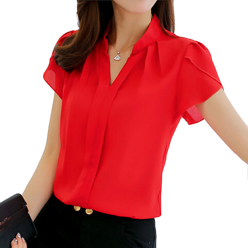 Womens Shirt Chiffon Blouse Tops Short Sleeve Elegant Ladies Formal Office Blouse Plus Size Women Tops Blouses