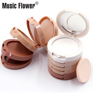 Official Music Flower 24 Hours Longlasting Mineral Magic With Mirror & Puff 5 in 1 Concealing Shading Powder Women Face Make up