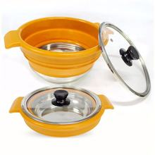 C-002 Outdoor camping 2.3/3.8/5.7 Liter Collapsible Stainless Steel Bottom Silicone Cooking Pot