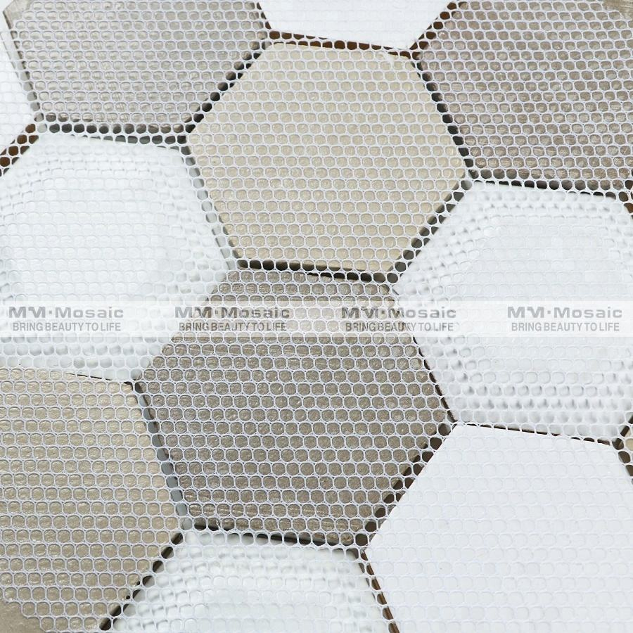 Hexagon beige crackle wooden 3d effect glass mosaic tile interior wall tile