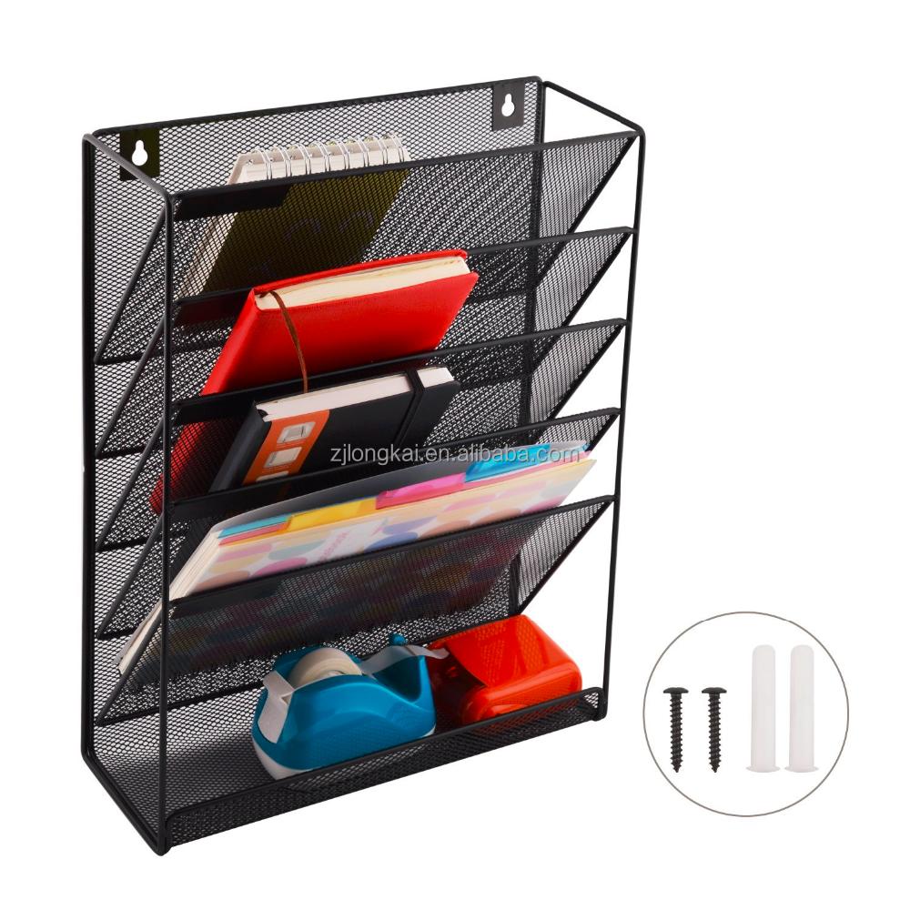 Wideny wall mount mounted office school metal mesh magazine document file wall organizer