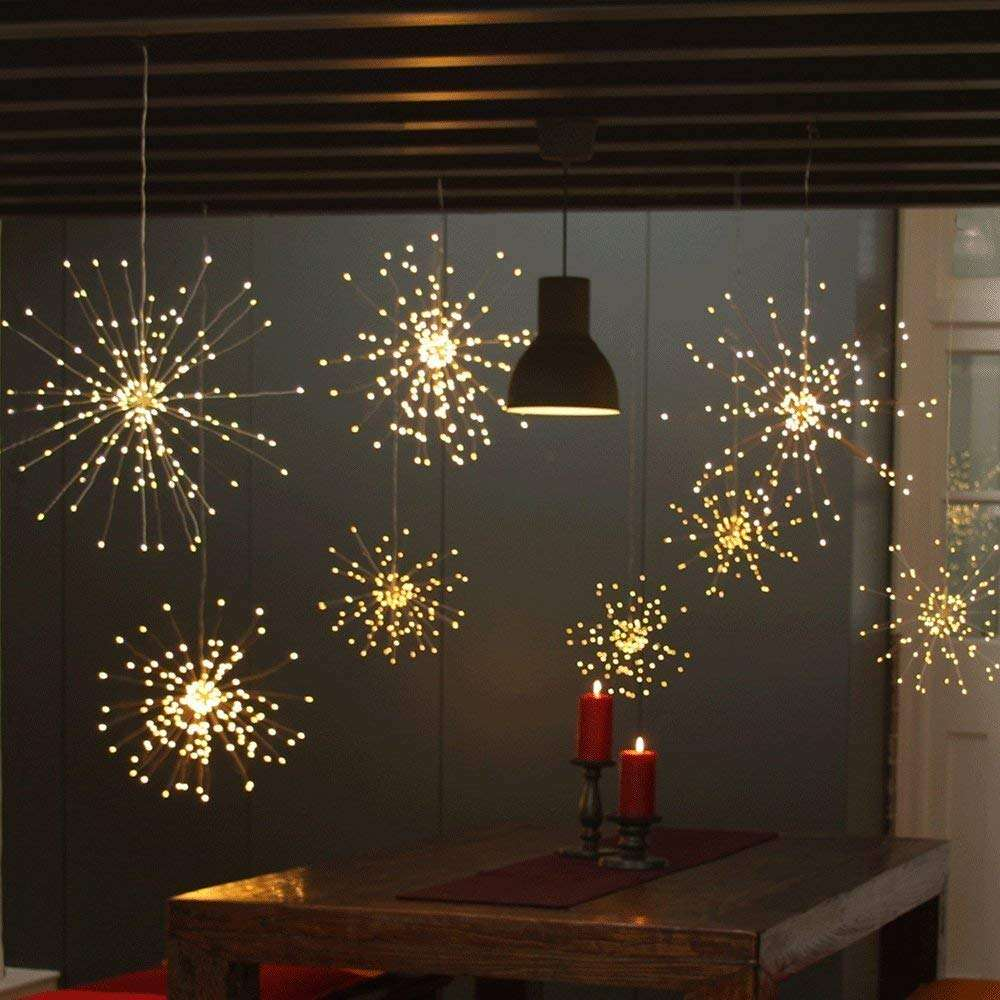 Garden Room Party Wedding Decoration Battery Operated Firework Light LED Twinkle outdoor curtain string solar led fairy light