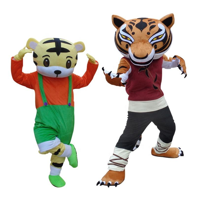 OEM supplier new design adult fur cartoon tiger mascot costumes