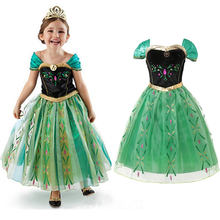 Girls Anna Elsa Princess Fancy Party Cosplay Costume With Crown Wig Suit Embroidery Summer Dress Halloween Dress