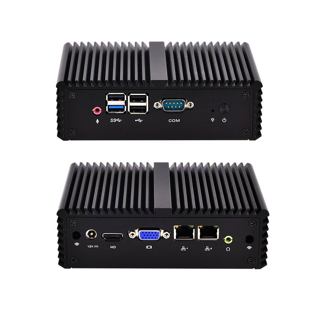 Fanless J1900 Baytrail Quad Core Desktop Micro Computer Server 4 GB di Ram 128G SSD 2 Ethernet Dual Nic Mini PC