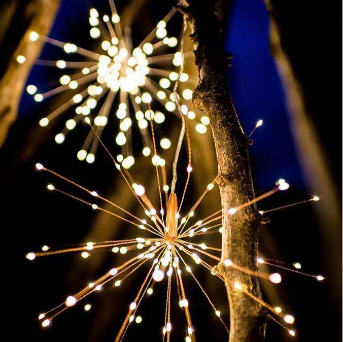 Waterproof LED Fireworks Copper String Lights Battery Operated Fireworks lamp with Remote