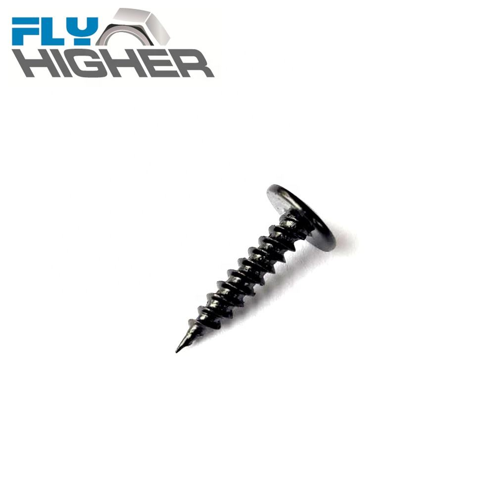 Cross recessed mushroom head tapping Black oxide finish screw