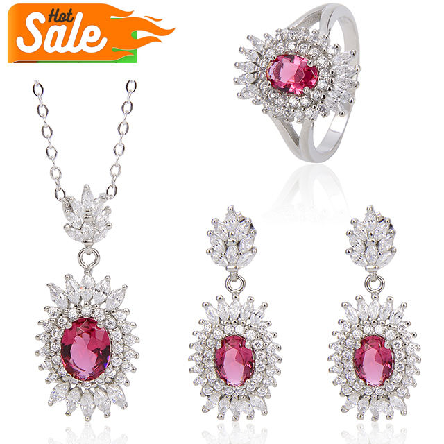 Chinese fashion luxury women bridal wedding diamond zircon earring necklace ring jewelry sets 925 silver jewellery display set