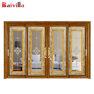High Quality Luxury Gold Decorative Stainless Steel Glass Customize Size Aluminum Inlay Glass Doors Entry Doors