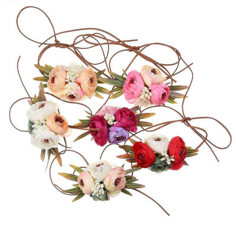 New European and American Children's Headwear Camellia Velvet Seaside Holiday Garland Headband Decorative Belt