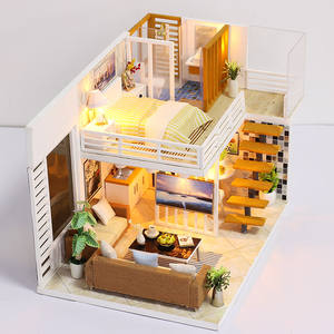 DIY Miniature Modern Dollhouse Furniture Set Doll Houses With Light