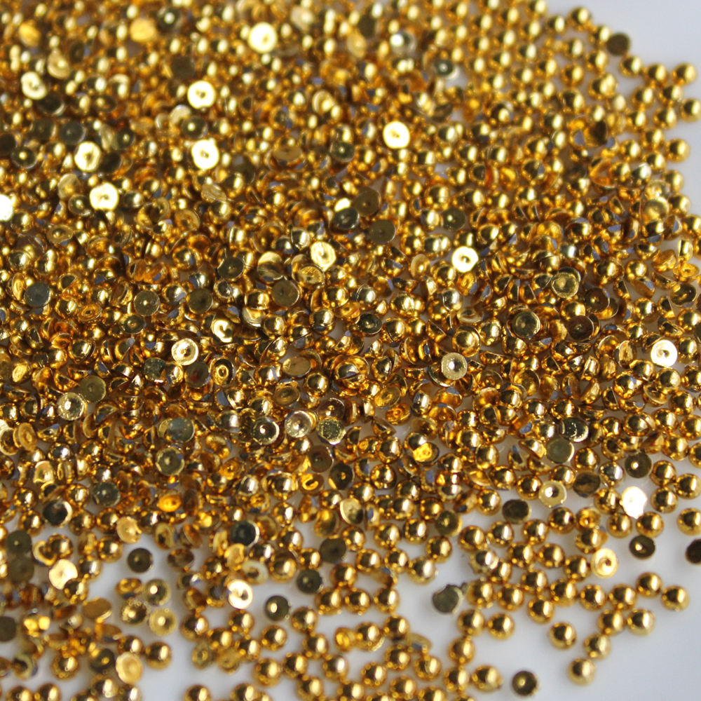 2017 1.5-4MM best selling gold glitter half round flatback jewellery making beads