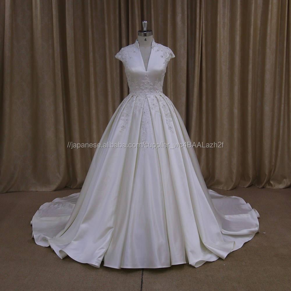 Xf1012エレガントノースリーブ夜会服のウェディングドレス2016ステインファブリックブライダル女性ガウン