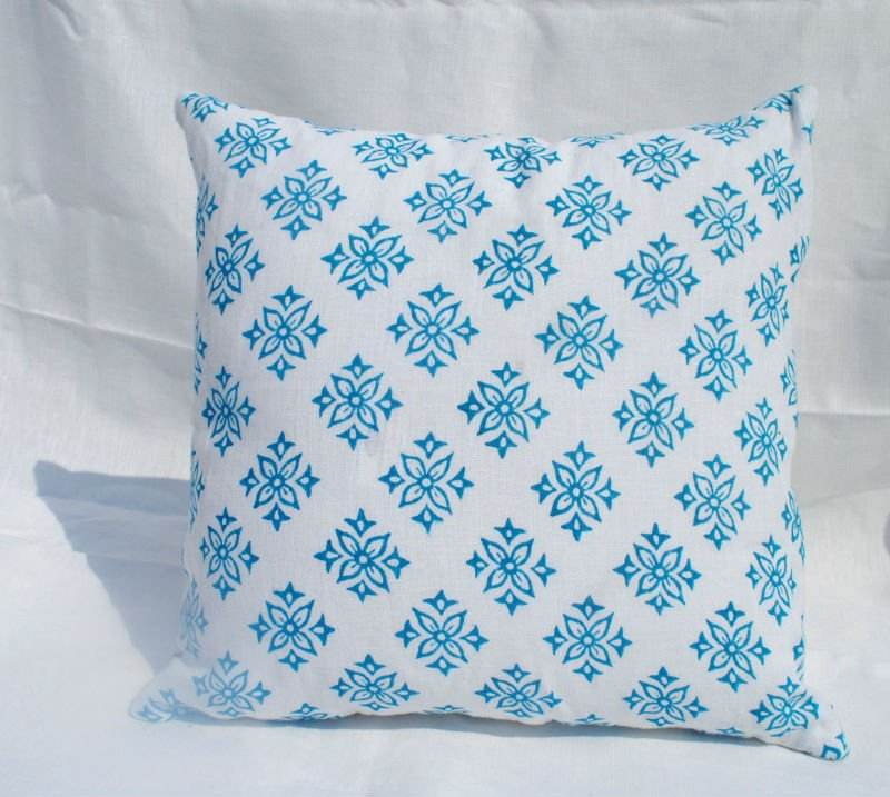 Hand block Linen Cushion Cover
