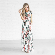 Ecoparty Evening Party Fashion Cute Summer Women Slim O-Neck Floral Print Pocket A-Line Ankle-Length Loose Women Dress Elegant