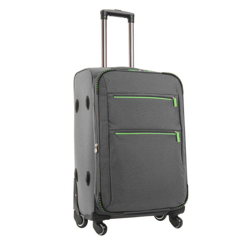 Brand designer extra double zipper expandable travel time luggage travel bag, large capacity wheeled rolling trolley travel bag