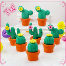 2018 China newest school Novelty Vogue Trendy Cool pencil eraser wholesale cartoon funny cactus shaped rubber erasers for kids