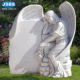 Marble Top Selling Hand Carved White Natural Marble Weeping Angel Statue Monument
