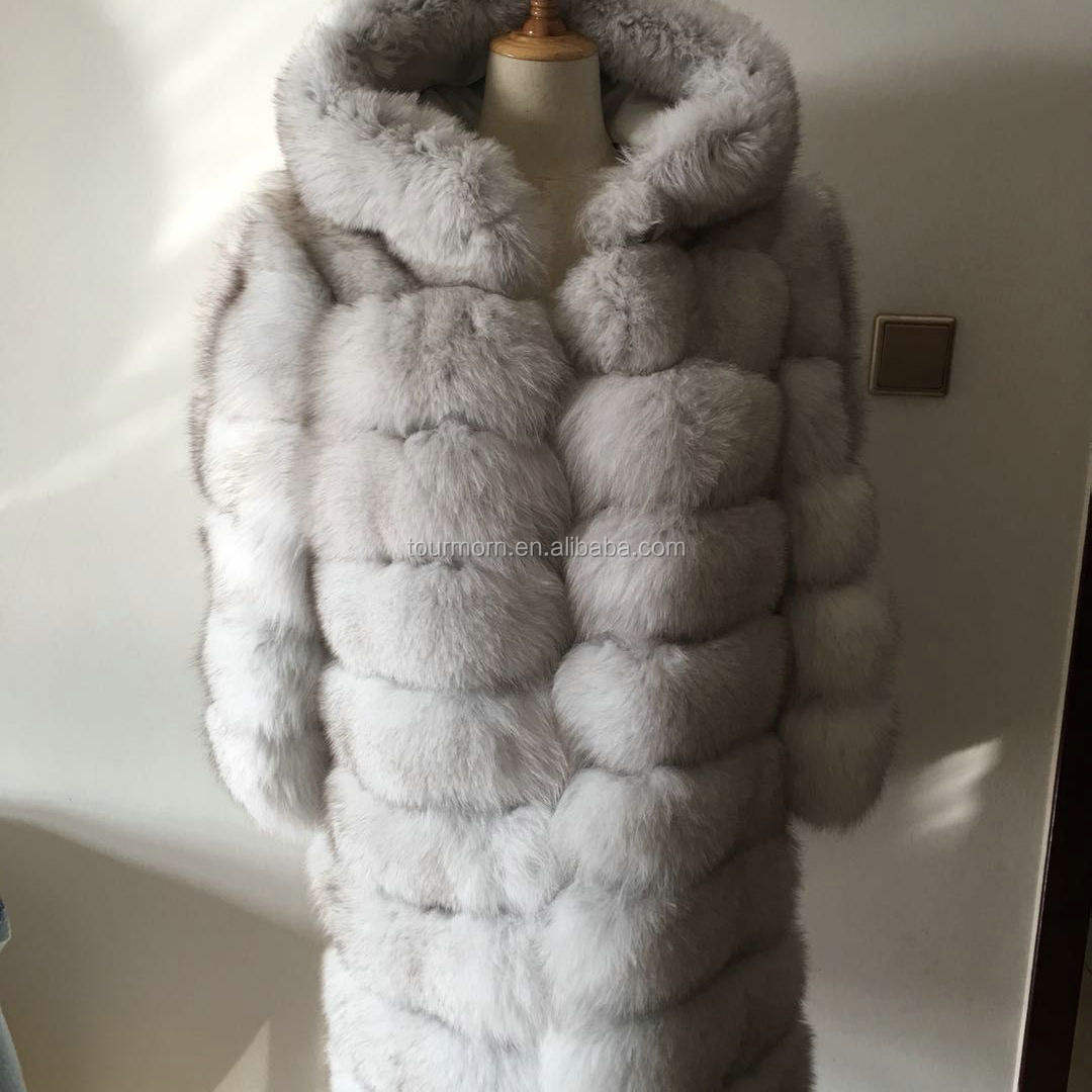 2019 New Design winter Women dark grey fox Fur Coat fox