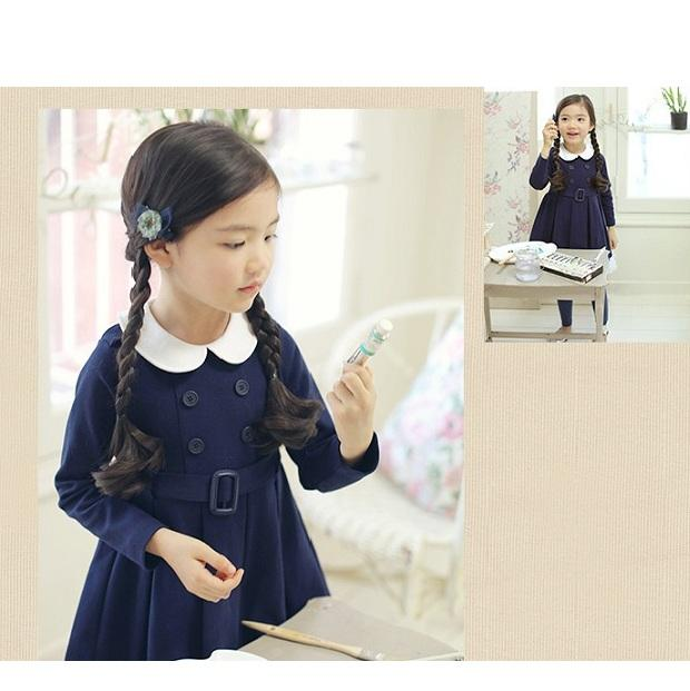 New Fashion For Kids Girls Spring Fancy Long Sleeve Lapel Belt Blue Dress From Korean