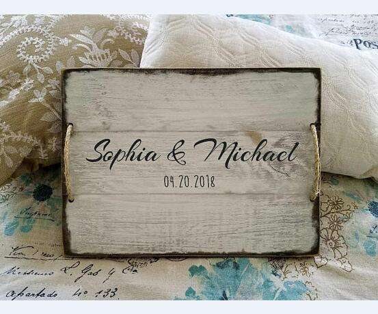 Family names serving tray. Personalized wood tray