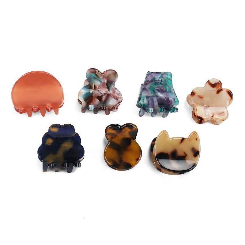 Wholesale Small Size Cute Children Hair Claw Korea 7 styles Simple Kid Hair Claw Acetate mini Hair Claw Clips