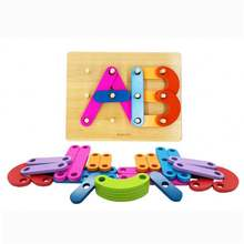 Custom logo colorful block stack sort alphabet puzzle toy kids baby educational toy