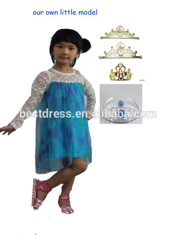 卸売安い2014年bestdress新しい子供服熱い販売冷凍クラウンとプリンセスドレス