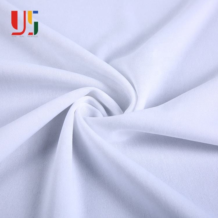 White organic composition single jersey cationic polyester interlock knitted fabric