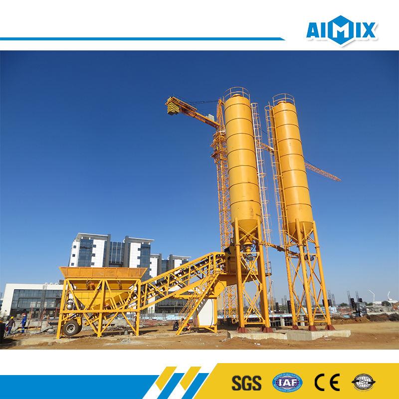 YHZS serie 50m3/h tolva plantas móviles de procesamiento por lotes concreta precio