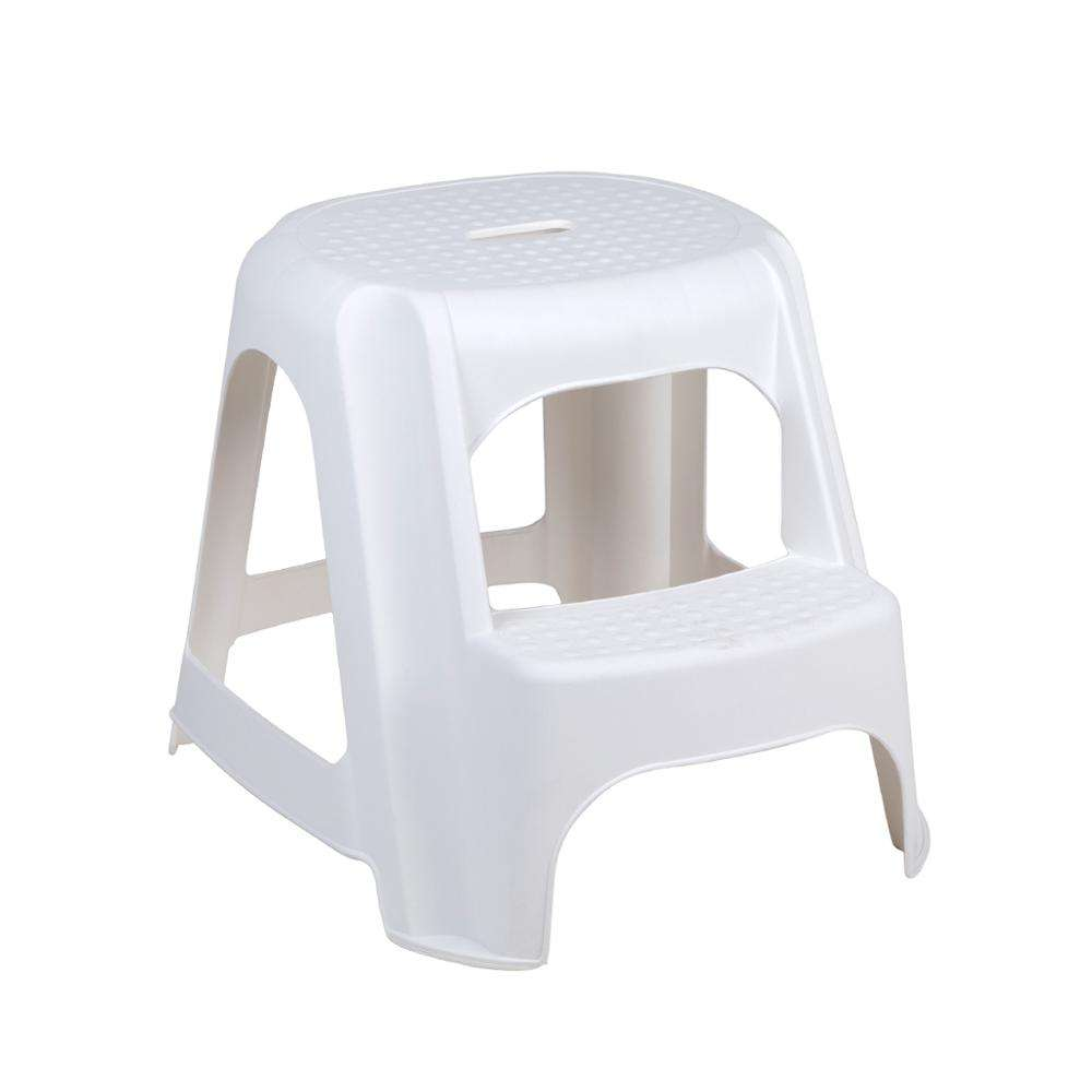 2 Tier Round Kick Step Stool Non Slip Metal Rubber Supermarket Shop Footstool