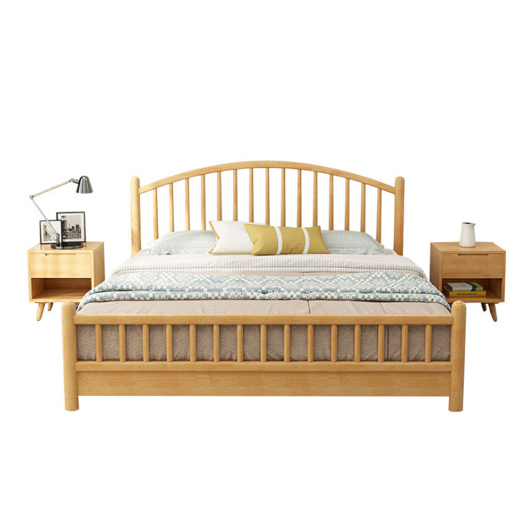 Rubber wood solid wood bed modern hotel bed