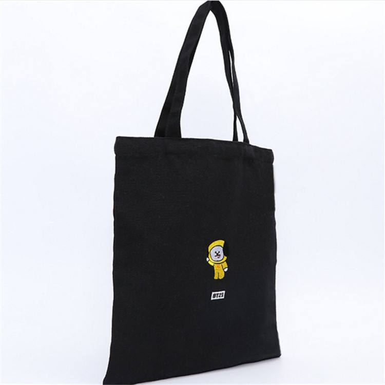 Custom logo printed organic cotton zipper blank tote canvas shopping bag