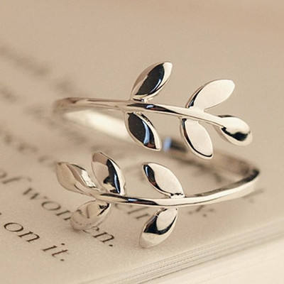 Olive Tree Branch Leaves Open Ring for Women Girl Wedding Rings Adjustable Knuckle Finger Jewelry