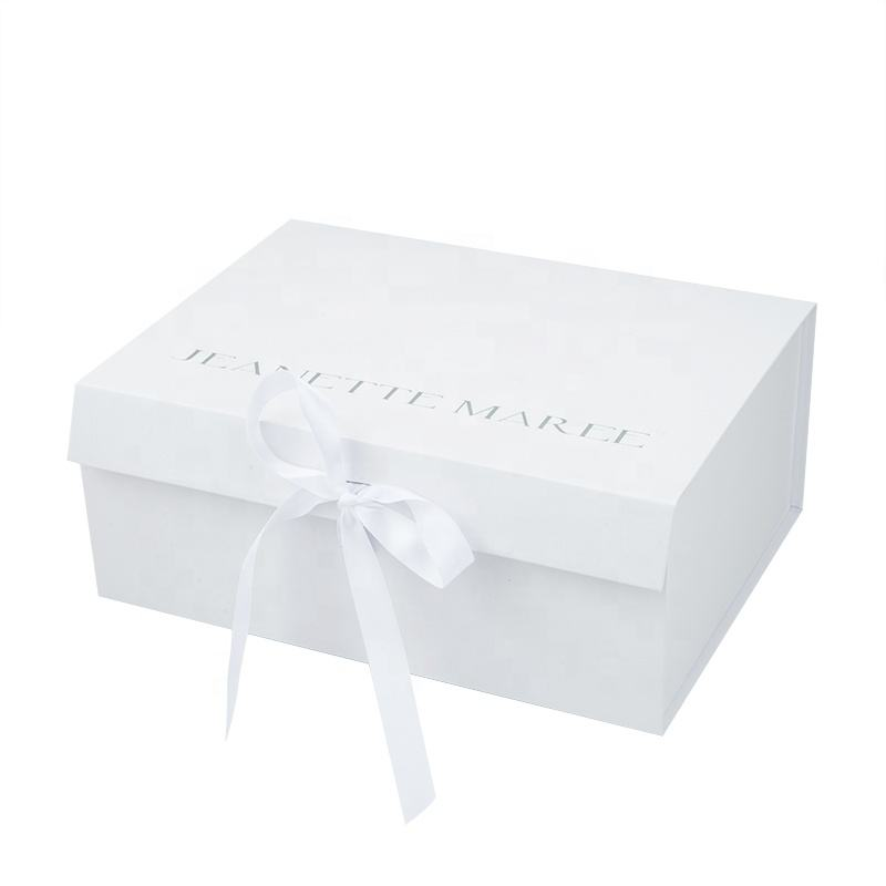 Hot sale foldable square luxury design white paper Wedding dress shoe boxes with custom logo