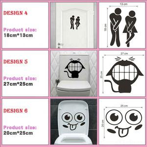 Funny Smile Bathroom Wall Stickers Toilet Home Decoration Waterproof Wall Decals