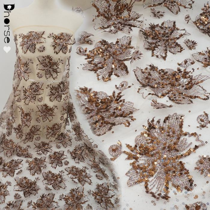 Cina Pabrik Supplier Payet Kain Glitter Lace Fabric untuk Wedding Dress DHGL1001