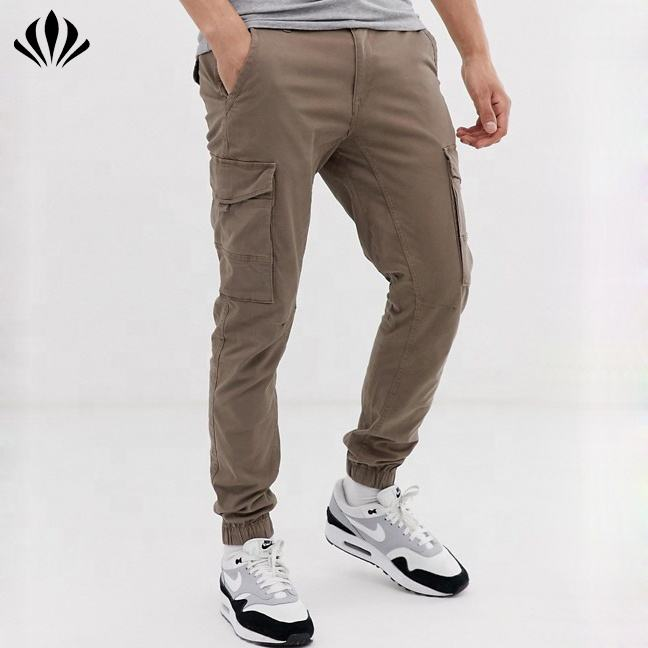 Top custom mens casual jogger cargo 6 pockets pants elastic hem trousers mens slim fit pants in sand&grey