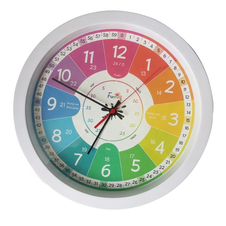 Study Dutch Best Fun Child Educational Learning Time Silent Wall Kids Learning Clock