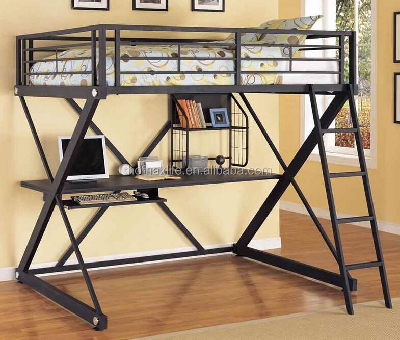 Moderne en métal de mode auberge <span class=keywords><strong>chambre</strong></span> full size loft lit superposé avec bureau d'étude