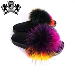 New Fashion Womens Fur Sandals Bright Color Furry Raccoon Fur Slides Slippers Wholesale