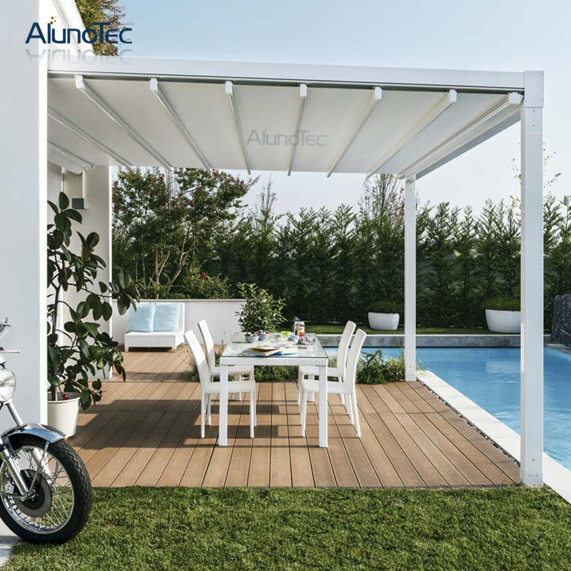 Tahan Air Bermotor Outdoor Gazebo Atap Aluminium Retractable Motorized Awning untuk Kolam Renang