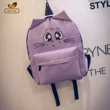 2017 new design cartoon ear cat canvas backpack young girls backpack bag school