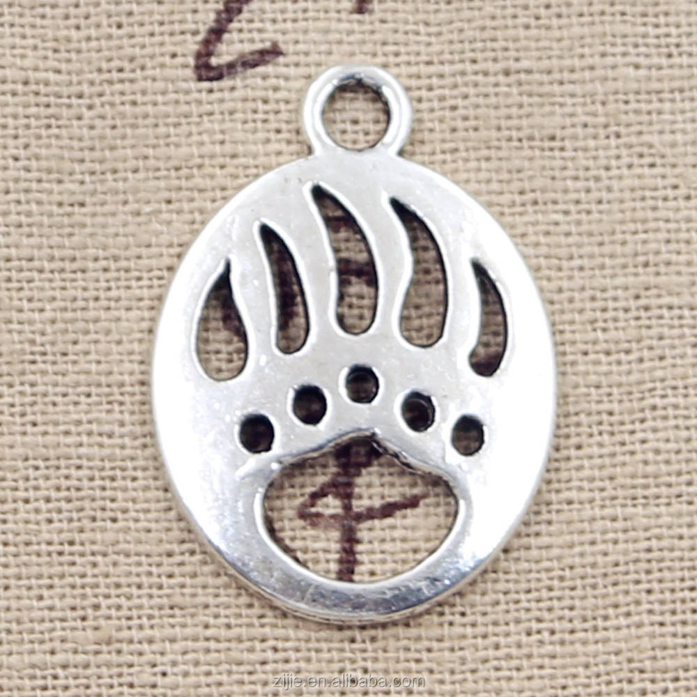 Bear Claw Charms Antique Tibetan silver Bear Paw charm pendants 30*22mm
