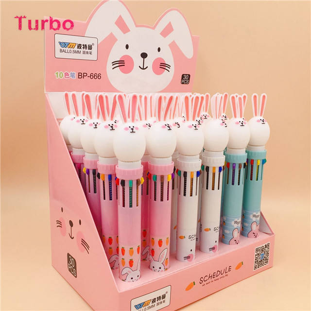 Wholesale Bulk Promotional Cheap new list stationery items for schools cute design Mixed colour plastic ballpoint pens 0.7mm