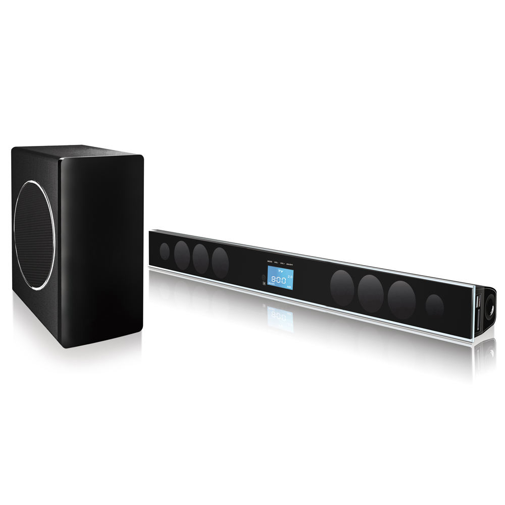 2.1CH SOUNDBAR HOME THEATER MUSIC SYSTEM , HOME THEATER SOUND BAR WITH FM RADIO/USB/SD/BLUETOOTH/OPTICAL/COAXIAL INPUTS