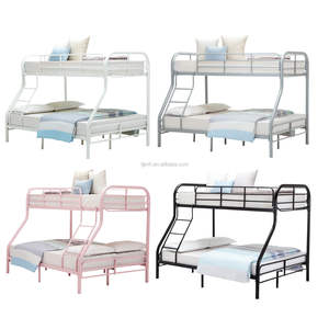 Double deck single over double metal bunk bed for 3 people children bedroom furniture