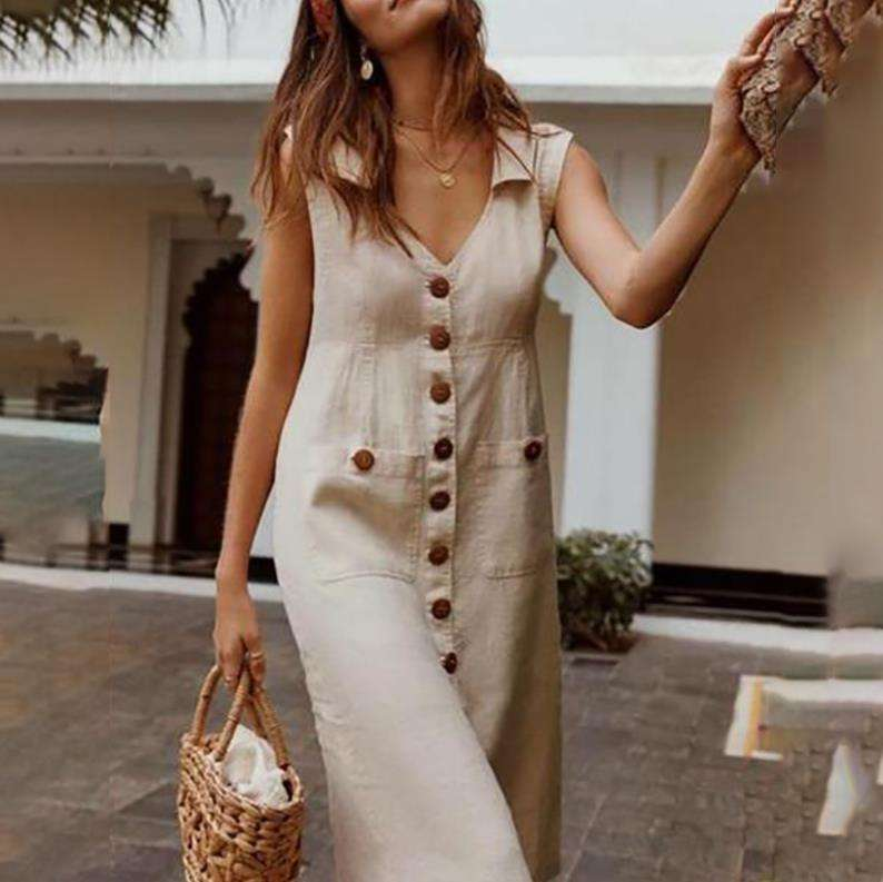 2019 Summer Women's Dresses Elegant Dot Print Boho Dress Feminine Turn-down V-neck Dress