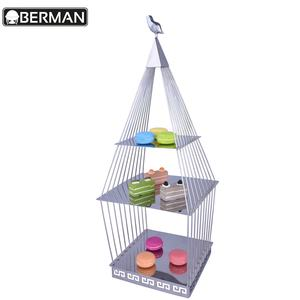 Guangzhou berman persediaan 3 tier dekorasi antique birdcage pernikahan macaron kue display showcase berdiri